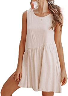 neveraway Women's Solid Low Back Loose A-line Sleeveless Short Dresses