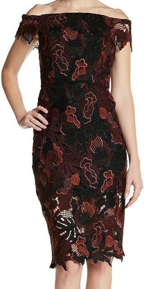 ABS Allen Schwartz Women's Off-Shoulder Cocktail Dress in Guipure Lace