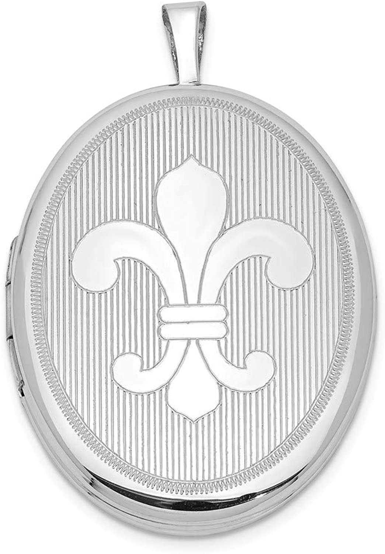 FB Jewels Solid Sterling Silver RhodiumPlated 26mm Fleur De Lis Oval Locket