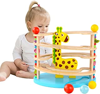 Arkmiido Ball Drop Toys for Babies Fawn Shape Roll Ramp Toy Wooden Educational Family Fun Toy for Baby with 3 Balls ,Montessori Toys