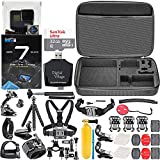 GoPro HERO7 Black + 32GB Memory Card + Hard Case + Card Reader + Chest Strap Mount + Head Strap Mount + Flexible Tripod + Extendable Monopod + Floating Handle + Hero 7 Best Value Bundle