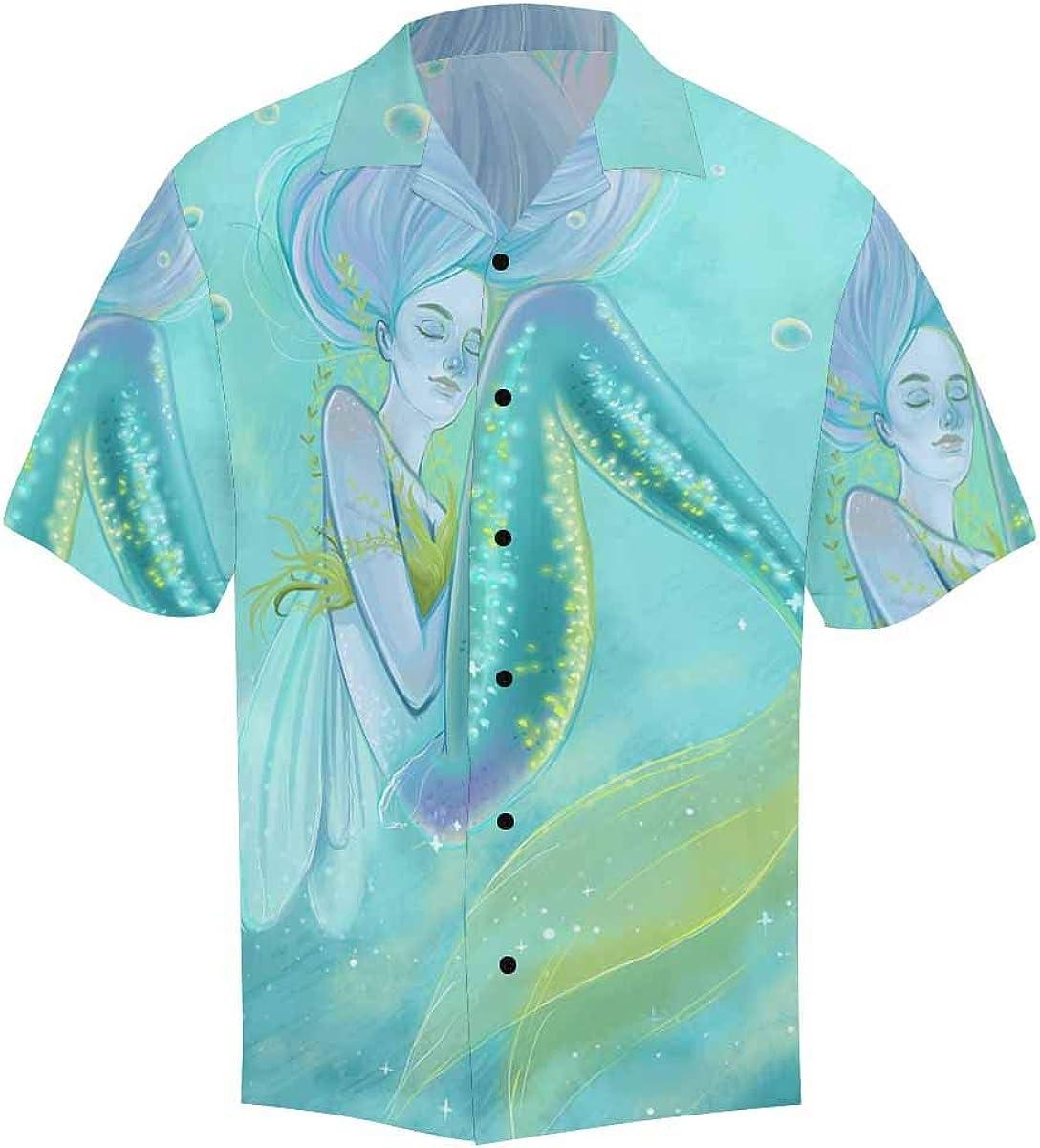 InterestPrint Men's Casual Button Down Short Sleeve Hawaiian Shirt Bunny Rabbit (S-5XL)