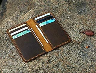 Personalized minimalist leather wallet/leather men slim thin bifold leather wallet/minimal front pocket wallet BW056T