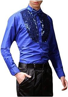 قمصان Zimaes للرجال أزياء ترتر مسرح الملابس البلوزات والقمصان العلوية