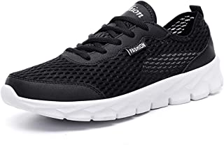 XUJW-Shoes, Mens Soft Athletic Sneakers for Men Running Sneakers Sport Shoes Lace Up Breathable Mesh Fabric Perforated Lightweight Durable Comfortable (Color : Black, Size : 8.5 UK)