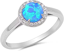 CHOOSE YOUR COLOR Sterling Silver Round Halo Ring