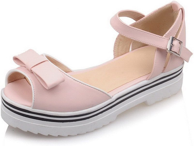 AmoonyFashion Women's Solid Low Heels Buckle Peep Toe Platforms & Wedges