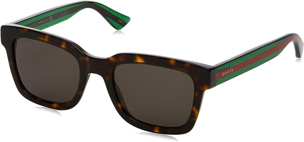 Gucci occhiali da sole uomo 0001S_003, MARRONE-VERDE