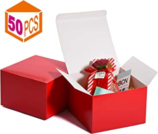 MESHA Gift Boxes 6x6x4in Gift Boxes for Bridesmaids Paper Boxes with Lids for Crafting, Cupcake Boxes (Red-50Pcs)