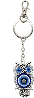 Lucky Owl and Evil Eye Good Luck Keychain Ring, Handbag Charm for Good Luck and Blessing, with Carabiner Lock, Great Gift