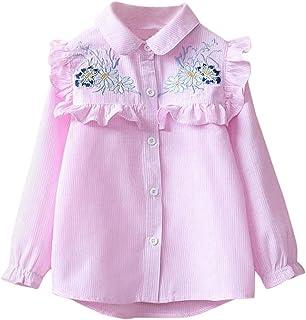 8582195b0 QUICKLYLY Blusas y Camisas Niña Manga Larga Niñito Raya Bordado Floral