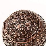 Hellery Vintage Mini Runde Kugel Mit 3D Handgefertigten Gestempelten Schmuck Aschenbecher Box - Rote Bronze - 2