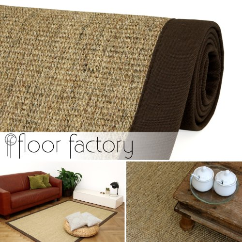 Alfombra Natural de Sisal Chocolate marrón 130x190 cm Borde de algodón 100% Fibra Natural