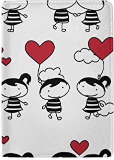 Couple in Love Together Valentine Blocking Print Passport Holder Cover Case Travel Luggage Passport Wallet Card Holder Made with Leather for Men Women Kids Family