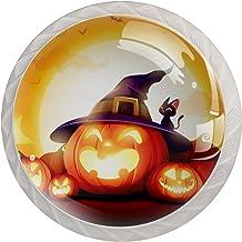 Kabinet lade knoppen Halloween pompoen patch in het maanlicht trekt handgrepen voor keuken kast badkamer kast dressoir, 4 ...