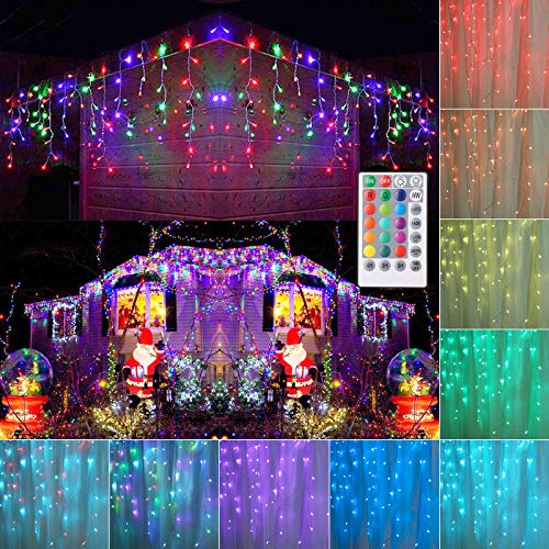 Toodour Icicle Christmas Lights, Color Changing RGB Icicle Lights with Remote, 360 LED 29.5ft Window Fairy Lights with 60 Drops, LED Christmas Lights for Home, Party, Outdoor Christmas Decorations