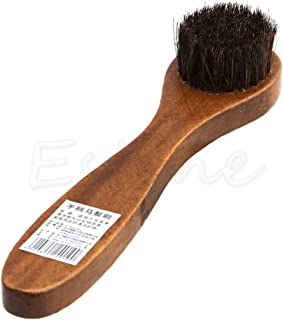 Feamos Long Wood Handle Horse Bristle Shoes Boot Polish Buffing Brush Care Hair Brush