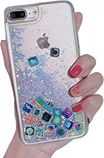 UnnFiko Liquid Glitter Case for iPhone 7 Plus, Hard Back Colorful Bling Quicksand with iOS icon Apple APP Shine Phone Case for iPhone 8 Plus (Silver Glitter, iPhone 7 Plus/8 Plus)