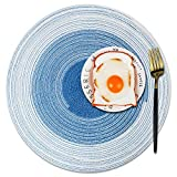 YIGEYIGE Placemat,Washable Heat Resistant Stain Resistant Kitchen Table Place Mats,Rustic Farmhouse Linen placemats Woven Fall Round for Dining Table Set of 4(Peacock Blue)