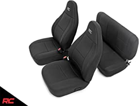 Rough Country 91001 Neoprene Seat Covers Black Compatible w/ 2003-2006 Jeep Wrangler TJ (Set) Custom Fit Water Resistant