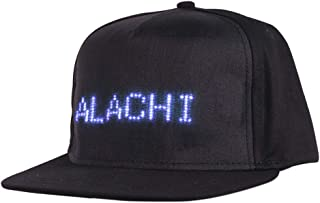 ALACHI USA LED Smart Cap, Mobile Phone APP Controlled Display Screen LED Hat Bluetooth Adjustable Flat Peak LED Cool Hat for Party Club Christmas Halloween (Text, Music, Image, Drawing) Black