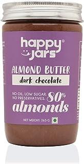 Happy Jars Dark Chocolate Almond Butter, 265g | 80% Almonds | Dark Chocolate | Delicious, Rich and Creamy in Texture | Glu...