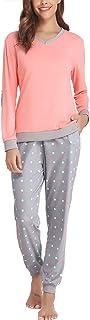 comprar comparacion Hawiton Pijama Invierno Mujer Algodon Mangas Larga Pantalon Largo 2 Piezas Talla Grande