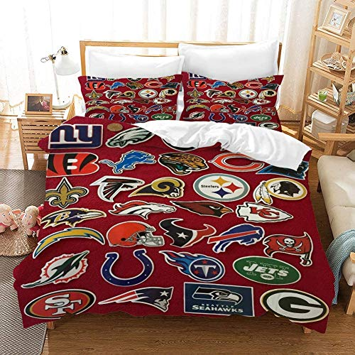 Duvet Cover Sets 3D NFL Printing Child Adult Bedding Set 100% Polyester Gift Duvet Cover 3 Pieces with 2 Pillowcases Tampa Bay Buccaneers-GB Double79 79'(200 200cm),All Team Logo,US Qu.