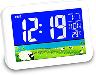 Digital Alarm Clock,5.2 Inch Large Color Screen,Temperature Display,Snooze Function, Timer, Sound Control Function, 12/24Hr, World time Pattern, Month Date & Temperature Display for Bedrooms Office