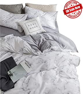 Marble Duvet Cover Queen,100% Soft Cotton Bedding Sets for Kids Boys Girls,Reversible Modern Gray Duvet Cover Comfy,Breathable with Zipper Closure,4 Corner Ties(NO Comforter)