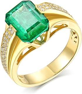 Daesar Anello in Oro Giallo 18K, Anello Uomo Fidanzamento Anello Oro e Smeraldo 2ct Rettangolare 4 Griffe con Diamante 0.2...