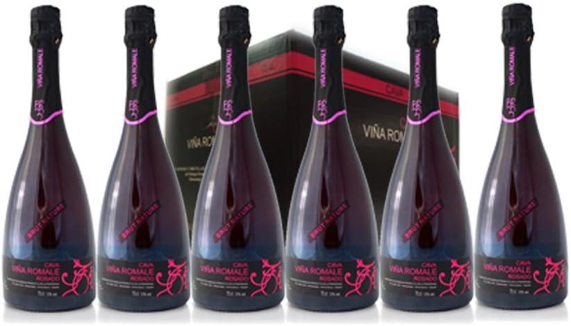 VIÑA ROMALE – Caja Regalo de 6 botellas de Viña Romale Cava Brut Nature Rosado Extremeño de Almendralejo (D.O CAVA). Caja de 6 botellas de 75 cl. 100% ARTESANAL