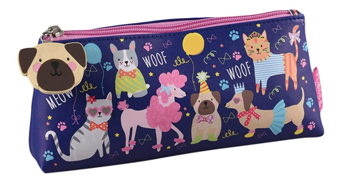 Party Cats and Dogs Pets 9 x 4 inch Vinyl Zip Top Pencil Case Pouch
