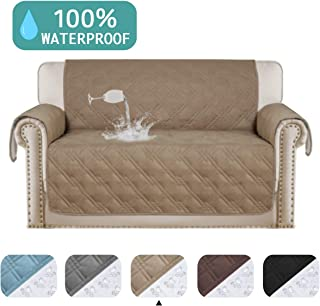 Turquoize Waterproof Loveseat Covers Pet Friendly Quilted Sofa Covers for Leather Furniture Cover 100% Water Resistant for Couch Covers Non Slip Protector Cover (Love Seat Oversize: Taupe)-75