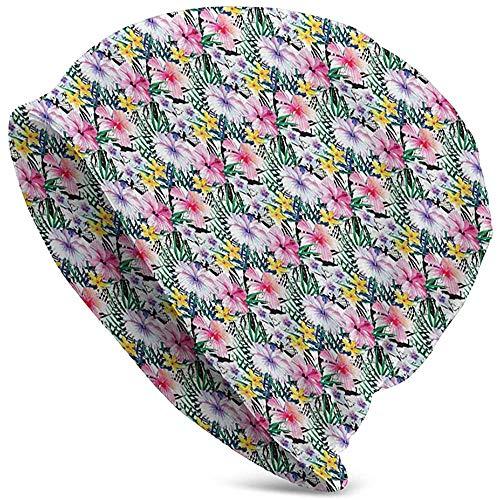 Sombrero Unisex Gorrita Tejida Sombreros de Punto Gorra de Calavera, Estilo Origami Diseño de pájaro grulla Dibujado a Mano Monocromo Motivo de folclore del Lejano Oriente de Asia