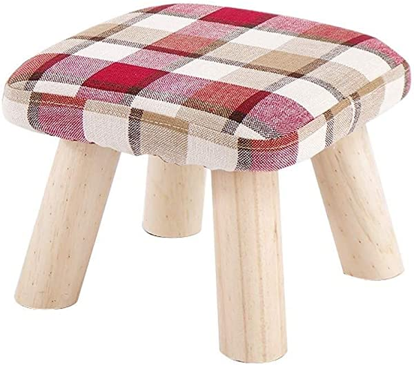 Carl Artbay Wooden Footstool Small Solid Wood Coffee Table Sofa Fabric Small Bench Fashion Creative Shoes Shoes Bench Home Color 282821cm