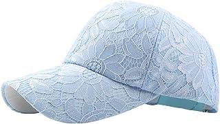 Men's Sun Hat Baseball Cap Ladies Cotton Bud Silk Cap Embroidery Flower Cap Outdoor Accessories (Color : Light Blue, Size ...