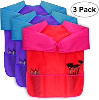 Magnolian 2 Pack Long-sleeved Kids Painting Apron With Front Pockets /&  Straps for 3-6 Years Old Unisex Toddler Children Art Smock Perfect for School Painting Classroom Home and Kitchen