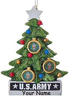 Kurt Adler Personalized United States Army Hanging Christmas Ornament Glittered Christmas Tree Decoration with Custom Name