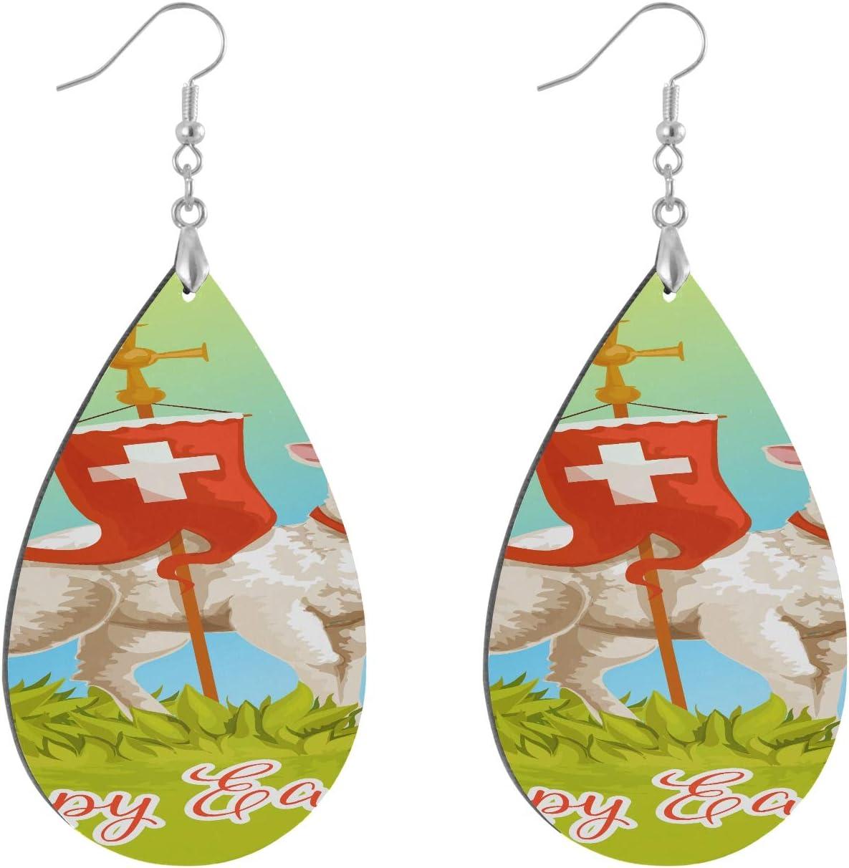 Huqalh Happy Easter White Lamb Fun Earrings Fashion Painted Dangle Geometric Personalized Dangling Earrings Water Drop/Leaf Loop Earrings for Women for Women Lady Girls