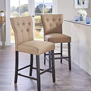 Christopher Knight Home Danar (Set Of 2) Fabric Counter stool, Mocha