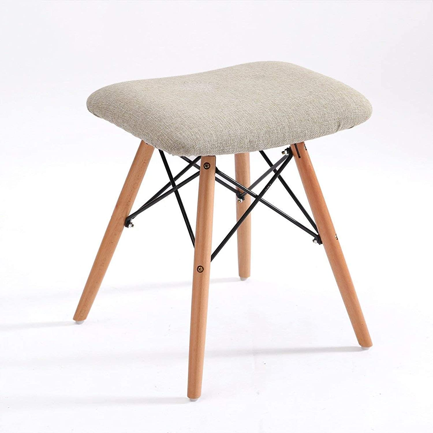Stool Chair Solid Wood Stool Fabric Dining Stool Makeup Stool Fashion Creative Computer Stool Home Bench (color   A)