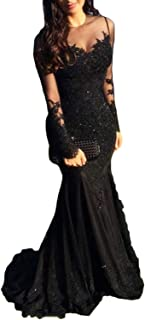 Illusions Long Sleeve Lace Prom Dress Mermaid s Formal Evening Ball Gowns
