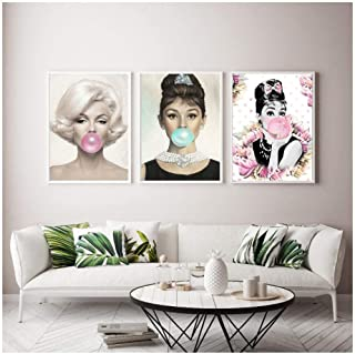 hchwan 3 Panel Modern Home Decoration Audrey Hepburn's Mural Poster and Photo Wall Painting Living Room Canvas Painting -50x70 Without Frame