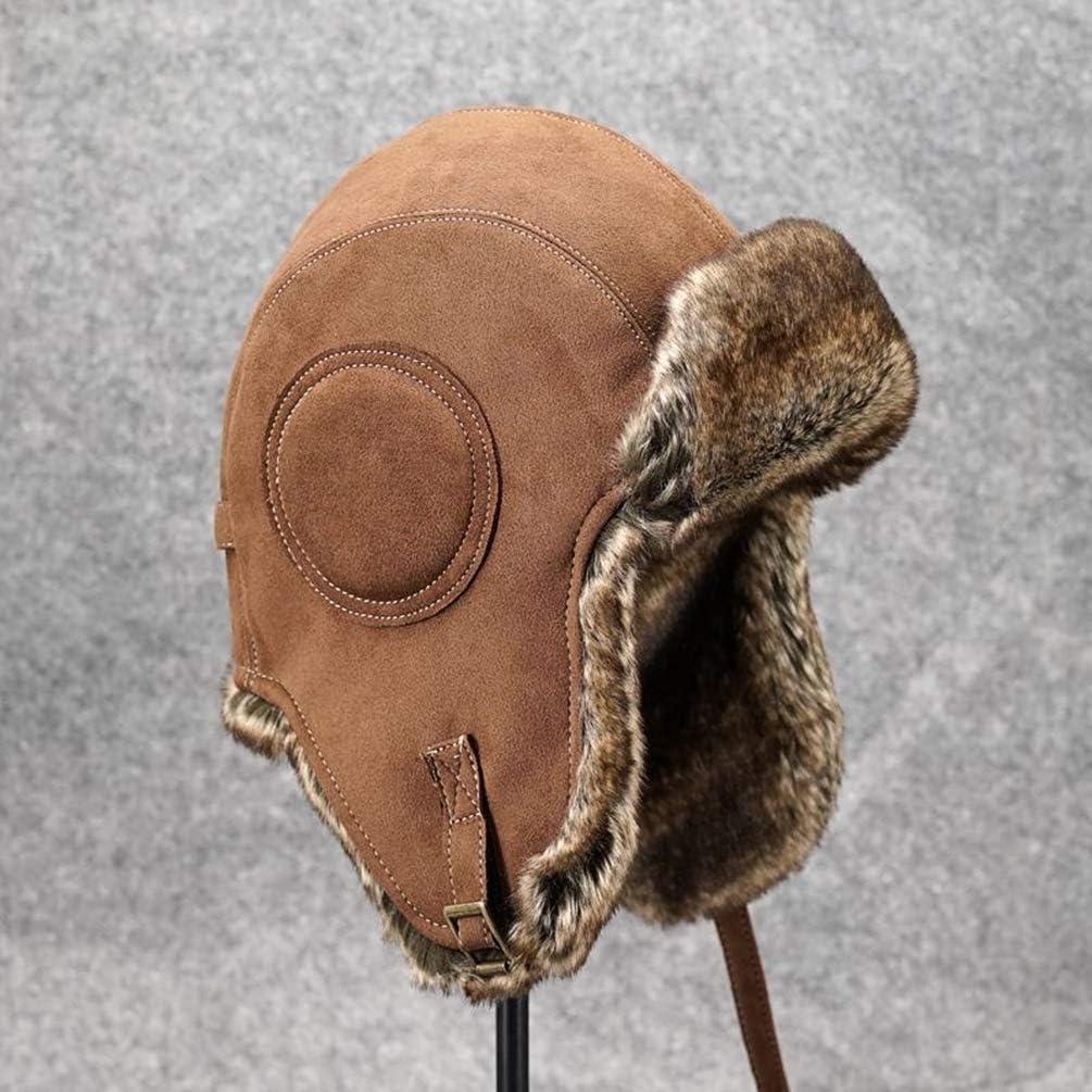 HAORUN Men Trapper Hat Caps Warm Cossack Bomber Faux Fur Suede Leather
