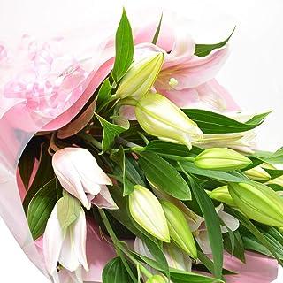 [エルフルール]ボリューム満点 オリエンタルユリの花束 5本 20輪以上 カラー:ピンク フラワーギフト 生花 誕生日 還暦 退職 結婚 プレゼント 贈り物