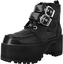 T.U.K. Shoes Negro De Las Mujeres De Doble Hebilla Hemorragia Nasal Boot