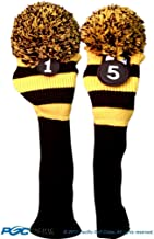 Majek Golf Club 1 5 Yellow and Black Limited Edition Driver and Fairway Wood Head Covers Fits 460cc Drivers Tour Knit Retro Vintage Pom Classic Long Neck Metal Longneck Woods Headcovers