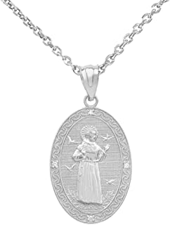 Sterling Silver Saint Francis of Assisi CZ Oval Medal Charm Necklace (Small)