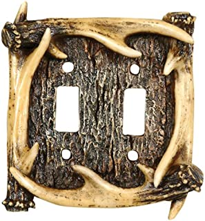 Black Forest Decor Antler Double Switch Plate Cover
